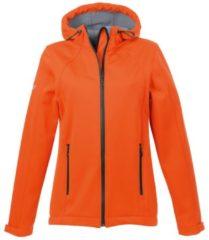 Damen Taillierte Softshell–Kapuzenjacke Trigema mandarine