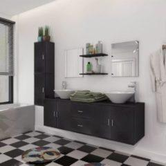 VidaXL Set 11 Mobili per bagno con lavandino con rubinetto nero
