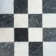 Jabo Dambord vloertegel wit marmer en Turks hardsteen anticato 10x10x1