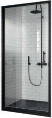 Douchedeur Draaibaar Novellini Zephyros G Helder Glas 96x195 cm Mat Zwart Profiel