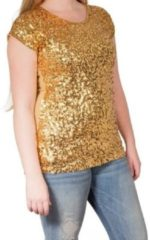 Goudkleurige Glitter party kleding Gouden glitter pailletten disco shirt dames L/XL - Gouden glitter carnaval/ verkleed kleding