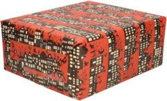 Bellatio Decorations 3x Rollen Sinterklaas kadopapier print donkerrood 2,5 x 0,7 meter op rol 70 grams - Luxe papier kwaliteit cadeaupapier/inpakpapier - Sint en Piet