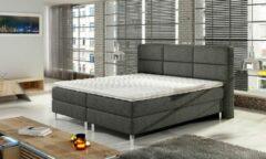 Antraciet-grijze Trend discounter Boxspring Block 180 x 200 incl matras + topmatras