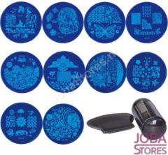 JobaStores® Nagellak Stempel Set (10 stempelplaten) + Stempel & Schraper