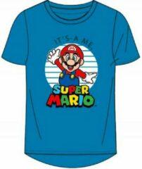 Super Mario t-shirt - blauw - Maat 152 / 12 jaar