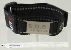 Zwarte Uppi Safe ID klittenband bandje met 2 beschrijfbare labels