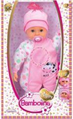 Roze Dimian Huilende Babypop met Fopspeen - 46 Cm