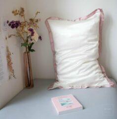 Mori Concept - Delight zijden kussensloop - 50x75 - Creme + Lichtroze - 100% Moerbei zijde –Mulberry Silk Pillowcase