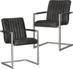 Wohnling 2er Set Esszimmerstühle MAGNUS Retro Design Schwarz Mikrovelour Vintage Küchenstühle 55 x 86 x 50 cm mit Armlehnen Freischwinger Wildledero