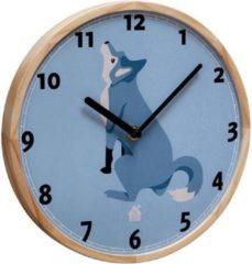 Blauwe THE ZOO - klok, met houten rand, WALLCLOCK, wolf, doorsnede 25 cm
