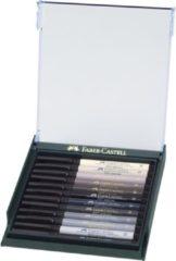 Faber Castell Tekenstift Faber-Castell Pitt Artist Pen Brush set 12 stuks grijstinten