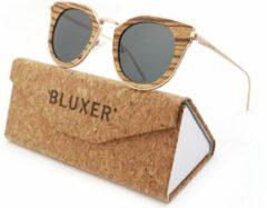 Bluxer® Zonnebril voor Heren en Dames Polaroid - Hippe Zonnebril Gepolariseerd - UV400 Lens - Rosegold Metal Frame - Ebony Wood - Grijze lens