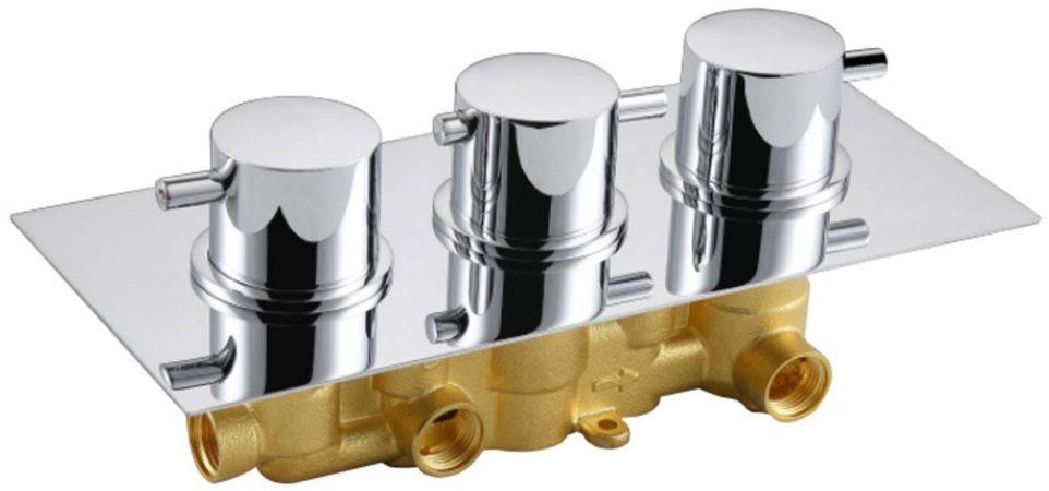 Afbeelding van Zilveren Best-design New-bologna inbouw thermostaat 3 weg 1/2 ronde knoppen
