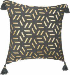 Gouden CASA DI ELTURO Kussen Geometrie Kwastjes Grijs (excl. vulling)