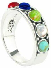 Symbols 9SY 0057 60 Zilveren Ring - Maat 60 - Malachiet - Tijgeroog - Agaat - Parel - Turkoois - Lapis Lazuli - Koraal - Multikleuren - Geoxideerd