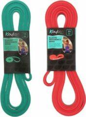 Kaytan - Weerstandsbanden set 15 en 35 kg - Fitness elastiek - Resistance band - Trainingsmateriaal - Elastische weerstandsband - Sport elastiek - Beginners - Gevorderden - Krachttraining - Workout set - Groen - Rood