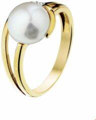 Gele Quickjewels huiscollectie Huiscollectie 4014324 Gouden ring met parel en diamant