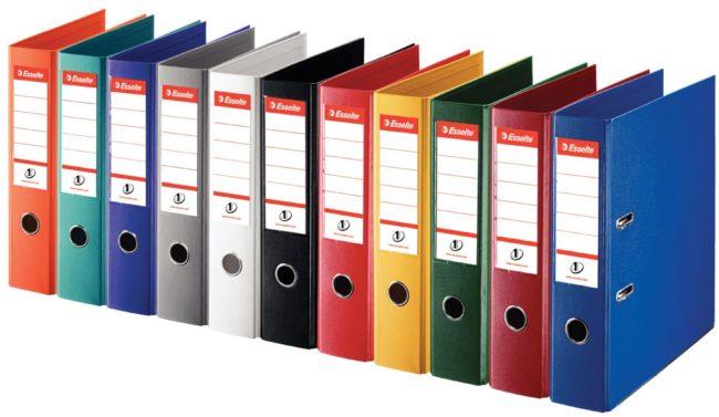 Afbeelding van Rode Esselte ordner Power N°1 geassorteerde kleuren: 2 x rood, groen, blauw, wit en zwart, rug van 7,5 cm