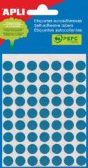 Apli ronde etiketten in etui diameter 10 mm, blauw, 315 stuks, 63 per blad (2052)