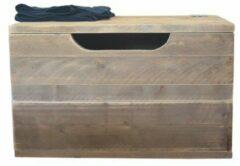 Bruine Sanderswoodworks Kick Speelgoedkist - Opbergkist - steigerhout - Opbergbox met deksel - 80 x 50 x 50 cm