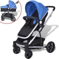 VidaXL Kinderwagen 2-in-1 blauw en zwart aluminium