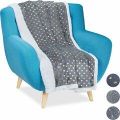 Relaxdays 1 x plaid 150x200 - deken - woonkamer - woondeken - op bank - grijs – hartjes