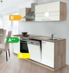 Respekta kitchen economy Respekta Küchenzeile KB220ESWC 220 cm Weiß-Eiche Sägerau Nachbildung