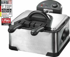 Roestvrijstalen Clatronic RVS Friteuse Frituur pan 4 liter 3 mandjes 2000 watt FR 3195 | Frituurpan met 3 frituurmanden
