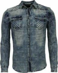 Enos Denim Overhemd - Slim Fit Lange Mouwen Heren - Ruiten Motief - Blauw Casual overhemden heren Heren Overhemd Maat S