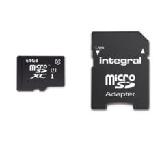 Witte Integral microSDXC geheugenkaart voor smartphones en tablets, klasse 10, 64 GB