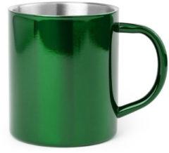 Shoppartners 1x Drinkbeker/mok groen 280 ml - RVS - Groene mokken/bekers voor onbijt en lunch