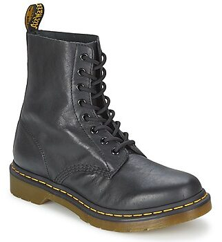 Afbeelding van Zwarte Dr. Martens Women's 1460 Pascal Virginia Leather 8-Eye Lace Up Boots - Black - UK 8 - Black