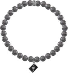 Zilveren Kaliber 7KB-0017M - Heren armband met stalen elementen - pokerkaart A - Hematiet natuursteen 6 mm - maat M (18 cm) - zilverkleurig