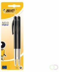 Bic balpen M10 Clic op blister, medium punt, zwart