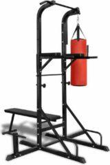Zwarte VidaXL Fitness apparaat kracht met bankje en boksbal