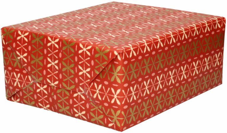 Afbeelding van Bellatio Decorations Inpakpapier/cadeaupapier - rood - roze/gouden kruisjes - 200 x 70 cm - Cadeauverpakking kadopapier