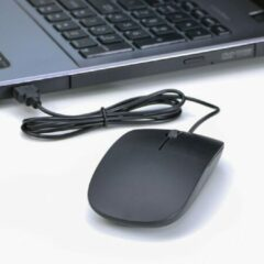 Zwarte Writing Girl Ultra dunne USB-Muis