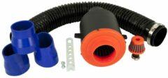 Zwarte AutoStyle Universeel Luchtfiltersysteem incl. 80cm Slang/Carterfilter/3 Adapters 55mm/63mm/70mm