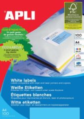 Apli witte etiketten ft 99,1 x 139 mm (b x h), 400 stuks, 4 per blad (2422)