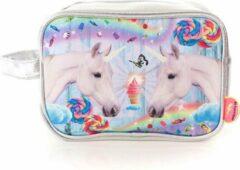Zilveren Kunstboer Toilettas Unicorns Eenhoorn Toilettas Meisjes Toilettas