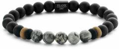 Frank 1967 7FB 0244 Rekarmband Beads natuursteen 8 mm zwart-grijs