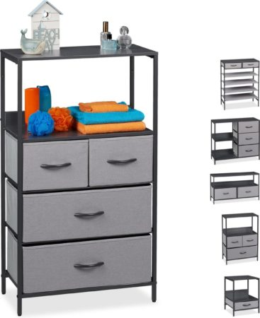 Afbeelding van Relaxdays ladekast grijs - tv-meubel - schoenenrek - bijzettafel - nachtkastje - dressoir B