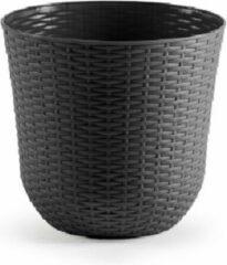 Forte Plastics 3x Grijze plantenbakken/bloempotten 32 cm - Woon/tuinaccessoires/decoratie - Ronde bloempotten/plantenpotten voor binnen/buiten