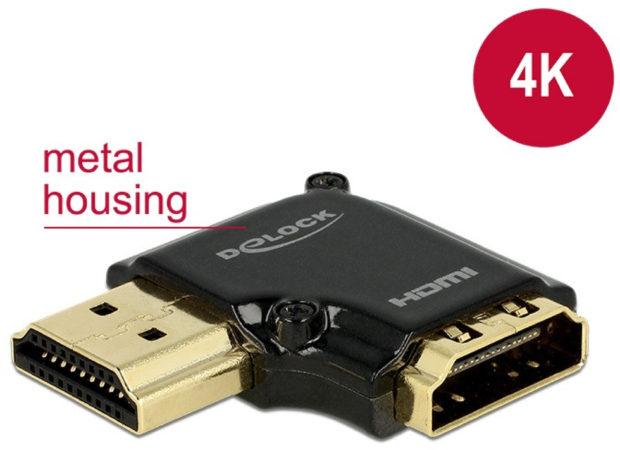 Afbeelding van Zwarte Compacte HDMI adapter - 90° haaks naar rechts - versie 2.0 (4K 60Hz HDR)