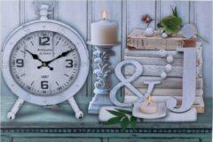 XL Canvas Schilderij Wandklok CLOCK CANDLES & BOOKS met Klok - Wand Klok Landelijk / Brocante - Canvasklok - Canvas Wandklokken met Klok - Keukenklok - Muurklok Wand Klok - Afm. 60 x 40 Cm - Decopatent®