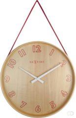 Rode NeXtime Loop Small Rood - klok - Rond - Hout en stof - Stil uurwerk - Ø 26 cm - Rood