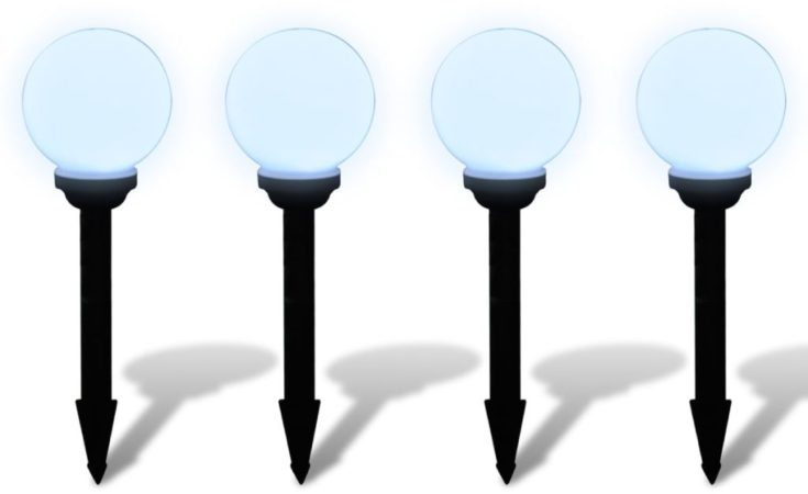Afbeelding van Zwarte DCM VidaXL - Padverlichting Buitenshuise tuinpad zonne-energie lampen (balvormige) LED 15cm (4 stuks inc. ankers)