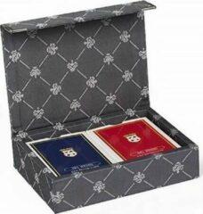 Dal Negro speelkaarten met houder Prestige textiel grijs 3-delig