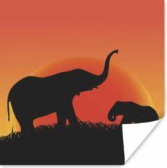 PosterMonkey Een silhouet illustratie van een moeder en baby olifant poster 100x100 cm - Foto print op Poster (wanddecoratie woonkamer / slaapkamer) / Wilde dieren Poster