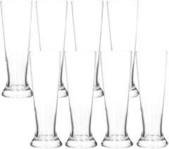 Transparante Merkloos / Sans marque 8x Bierglazen smal 370 ml - Glas voor bier 8 stuks